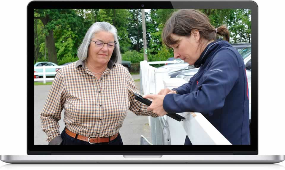 Pictured: Equine Vet Jane Nixon with Jan Rogers discussing the new BEF Equine Futurity Linear Scoring System